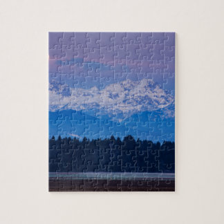 Full Moon setting over the Julian Alps Jigsaw Puzzle