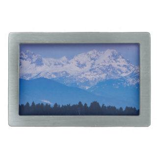 Full Moon setting over the Julian Alps Rectangular Belt Buckles