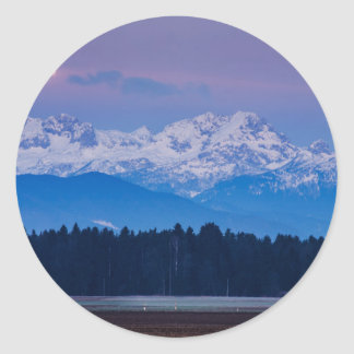 Full Moon setting over the Julian Alps Round Sticker