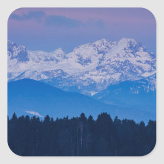Full Moon setting over the Julian Alps Square Sticker