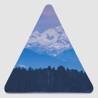Full Moon setting over the Julian Alps Triangle Sticker