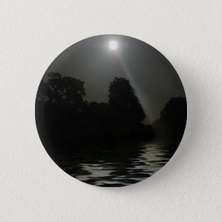 Full Moon Shining Above Water 2 Inch Round Button