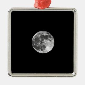 Full Moon Silver-Colored Square Ornament