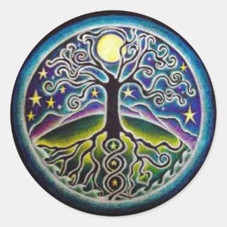 Full Moon Tree of Life Starry Night Mandala Sticke Classic Round Sticker