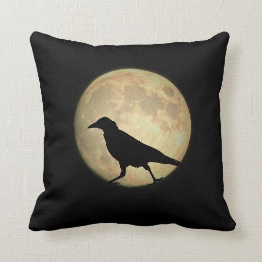 Full Moon Walking Crow Silhouette Throw Pillow