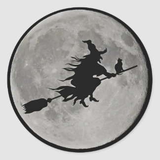 FULL MOON WITCH ON BROOM Halloween Witch  BUTTON Classic Round Sticker