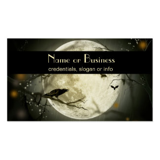 Full Moon with bats and Raven professional Business Card Template
