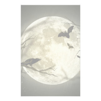 Full Moon with bats and Raven Stationery