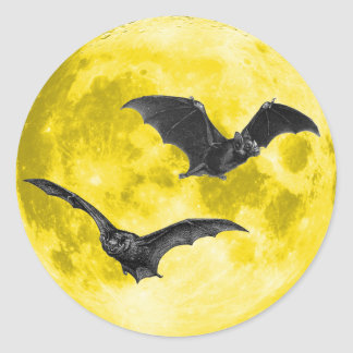 Full Moon with Bats [Envelope Seals/Stickers] Round Sticker