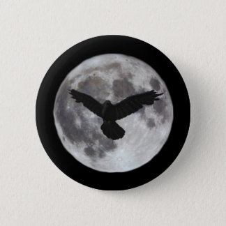 Full moon with crow flying in front of it 2 inch round button