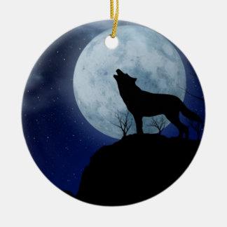 Full Moon Wolf Round Ceramic Ornament