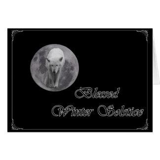Full Moon Wolf Yule Card
