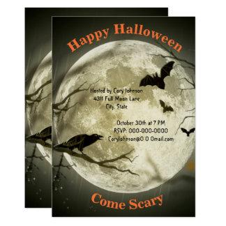 Full Moonlight Night, Black Crow, Bats, Halloween Card