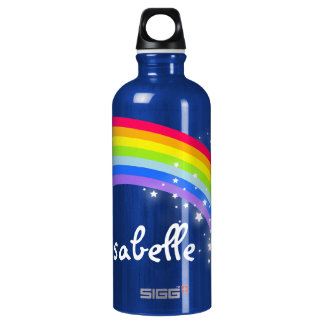 """Full name"" rainbow teal blue kids drinks bottle"