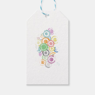 full of circles. Colorful and cool gift Pack Of Gift Tags