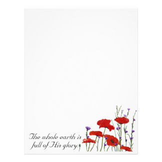 """Full Of His Glory"" Wildflower Poppies Letterhead"