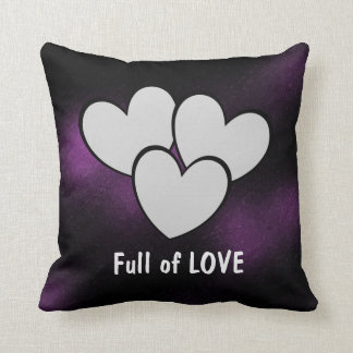 Full of LOVE Reversible Cute Hearts Design Purple Throw Pillow