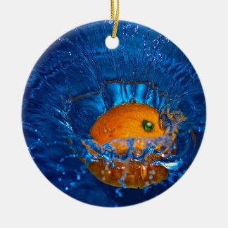 Full orange drenching in water circle ornament