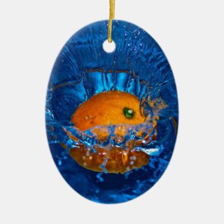 Full orange drenching in water oval ornament