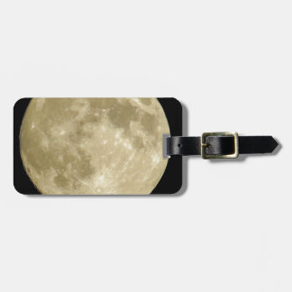 Full round moon on black background bag tag