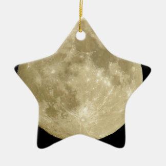 Full round moon on black background ceramic star ornament