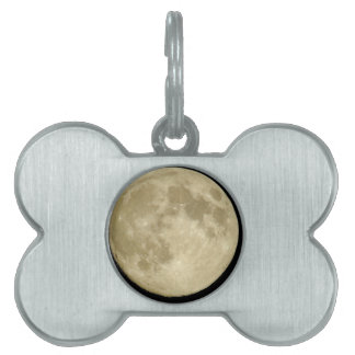 Full round moon on black background pet tag