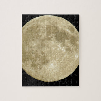 Full round moon on black background puzzle