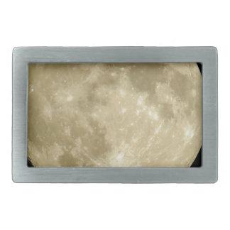 Full round moon on black background rectangular belt buckles