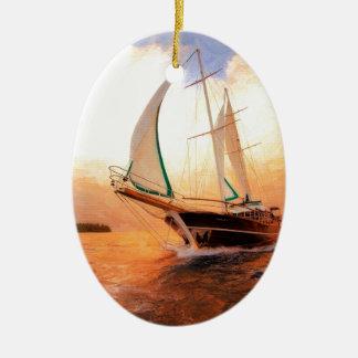 Full sail yacht ceramic oval ornament