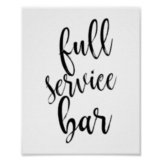 Full Service Bar Black and White 8x10 Wedding Sign