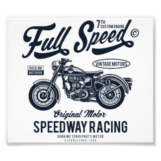 Full Speed Speedway Racing Photo Print