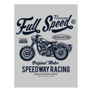 Full Speed Speedway Racing Postcard