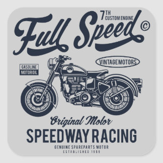 Full Speed Speedway Racing Square Sticker