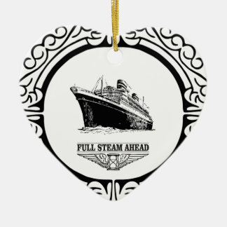 full steam ahead ceramic ornament