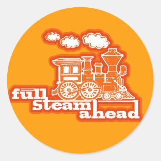 """full steam ahead"" loco train kids orange sticker"