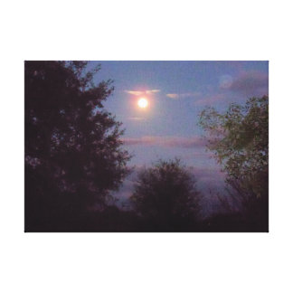 full Wolf Moon rising Canvas Print