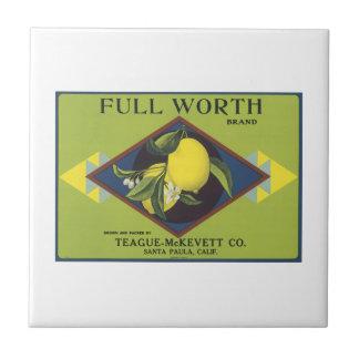 Full Worth Lemon Fruit Crate Label Tile