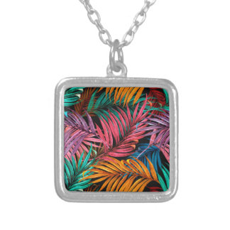 Fullcolor Palm Leaves Silver Plated Necklace
