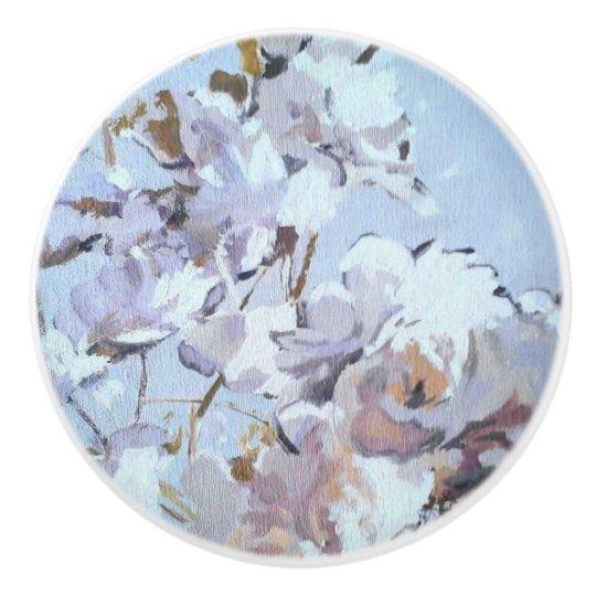 Fullmoon Blue Roses Ceramic Knob