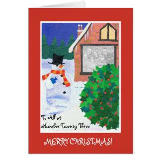 Fully Customizable Christmas Photo Card, Snowman Card