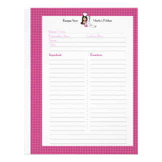 Fully Illustrated Recipe Page for Binder Users Customized Letterhead