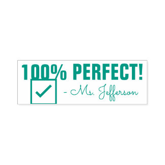"""Fun """"100% PERFECT!"""" Acknowledgement Rubber Stamp"""