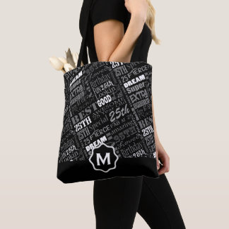 Fun 25th Birthday Party Personalized Monogram Tote Bag
