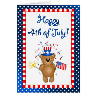Fun 4th July Independence Day Cute Teddy Bear Card