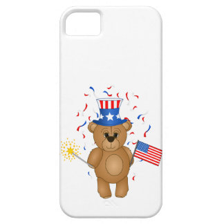 Fun 4th July Independence Day Cute Teddy Bear iPhone 5 Case