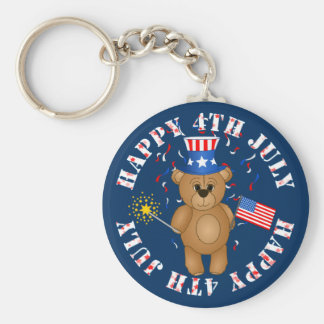 Fun 4th July Independence Day Cute Teddy Bear Basic Round Button Keychain