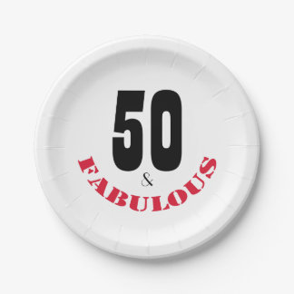 Fun 50 and Fabulous Birthday Party Paper Plate 7 Inch Paper Plate