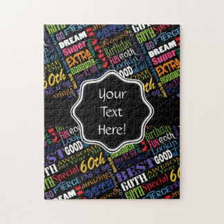 Fun 60th Birthday Party Personalized Monogram Jigsaw Puzzle