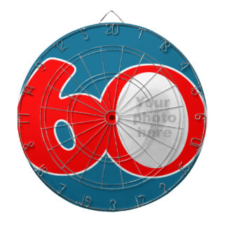 Fun 60th red & blue add your own photo dart board