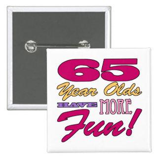 Fun 65th Birthday 2 Inch Square Button